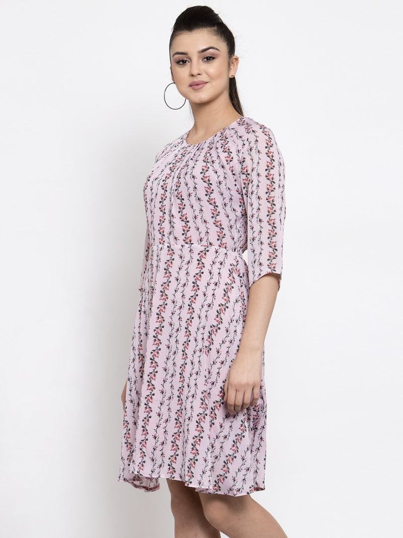 Women Printed Pink Round Neck Crape Dress