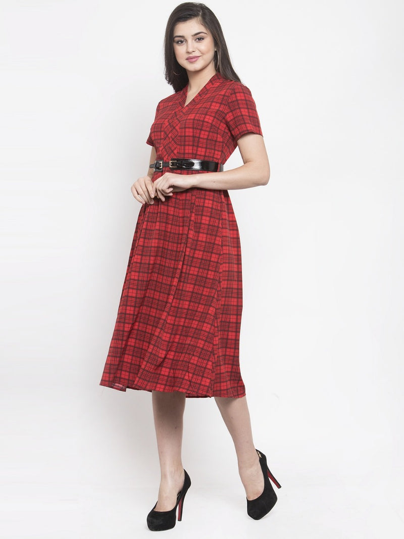 Women Red Checked A-Line Dress