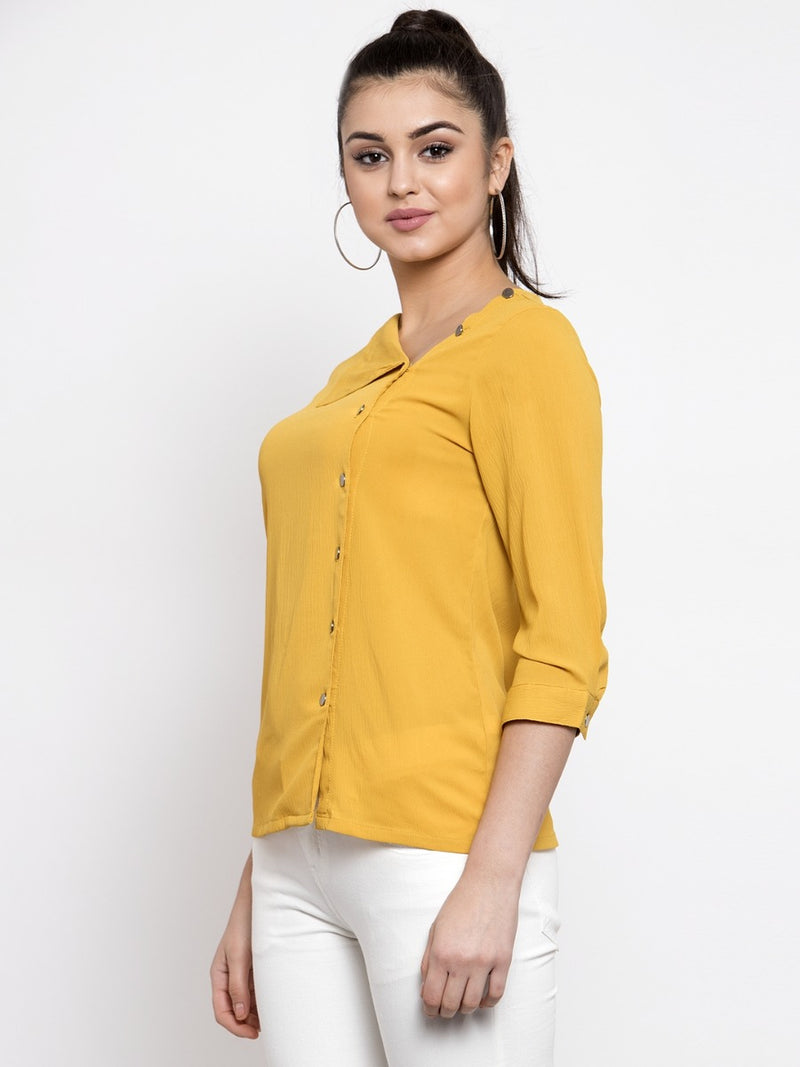 Women Solid Mustard Side-Placket Top