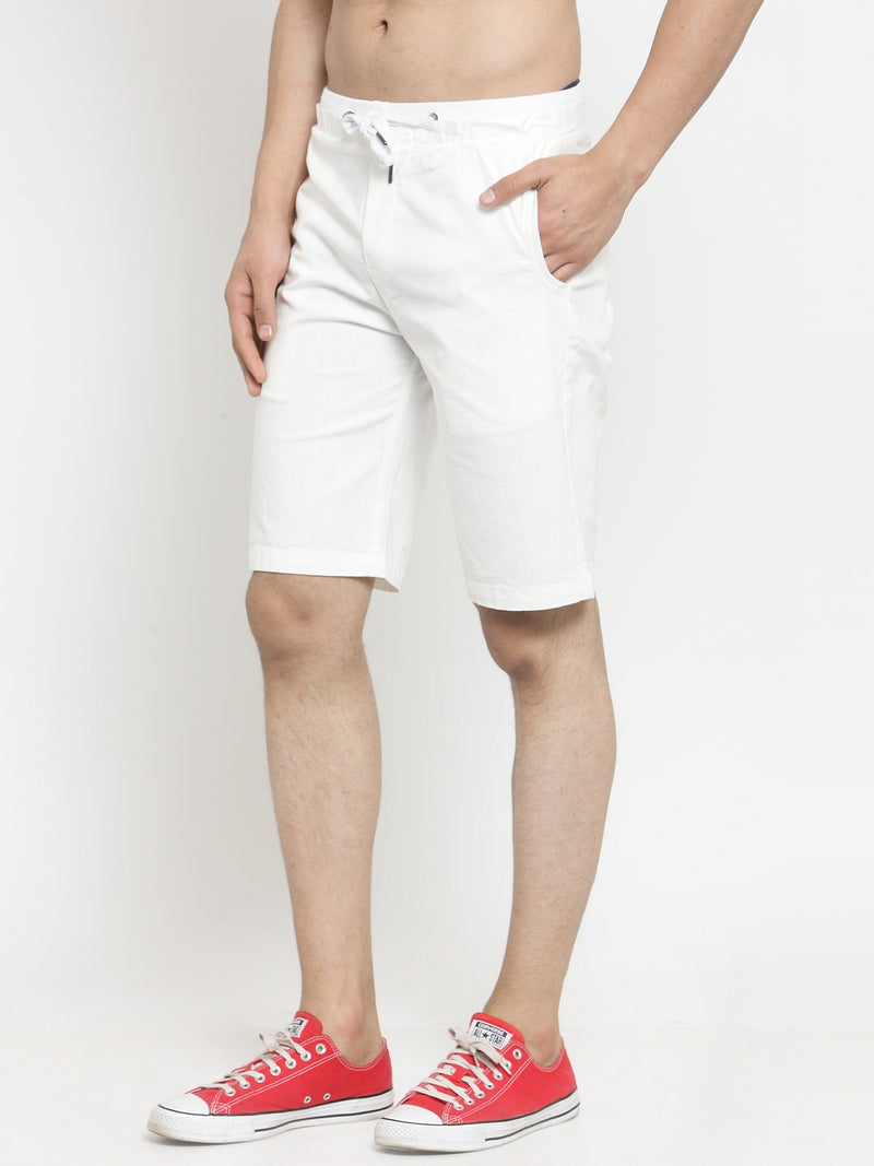 Mens White Solid Regular Fit Shorts