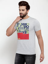 Mens Grey Round Neck Printed T-Shirt