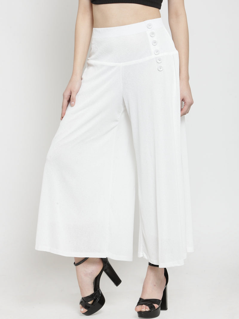 Women Solid Off-White Flared Plazo