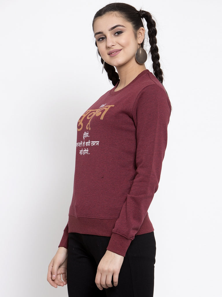 Women Maroon Round Neck Sweatshirt
