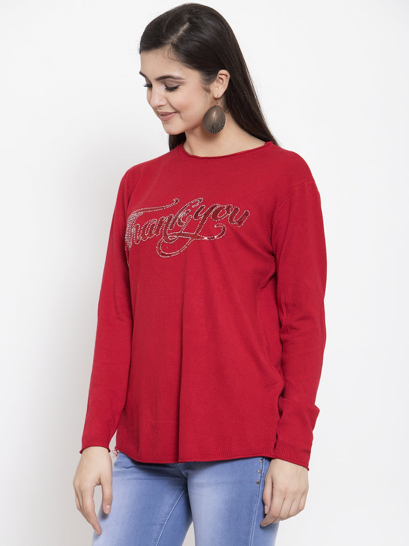 Women Printed Red Round Neck Pullover