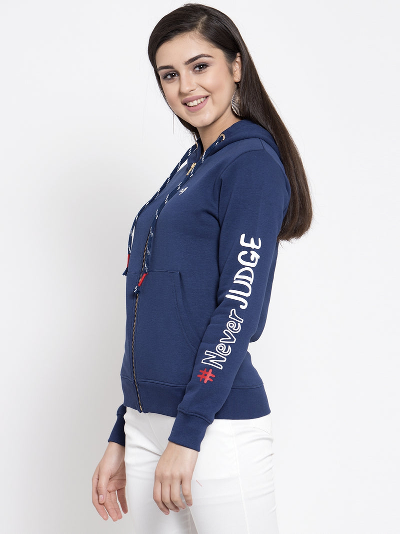 Women Blue Solid Sweatshirt