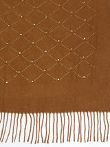 Women Rust Embellished Winter Scarf