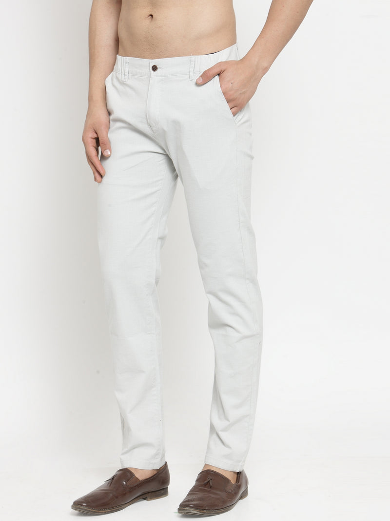 Mens Grey Cotton Linen Solid Trousers