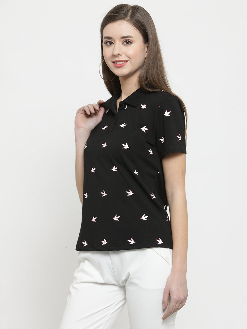 Women Black Printed Collar Regular Fit Tops