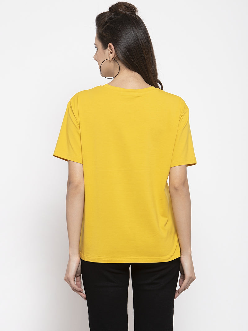 Women Printed Mustard Round Neck Top