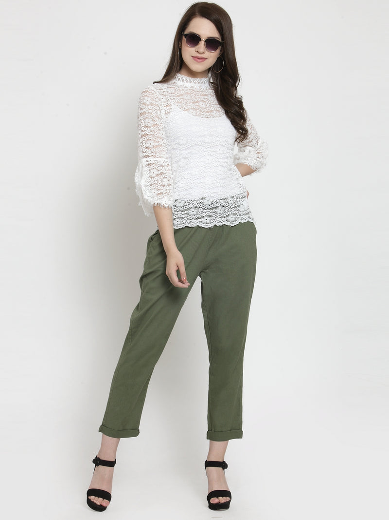 Women Green Solid Tapered Fit Lower