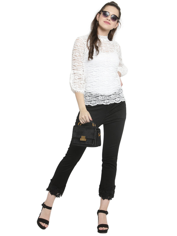 Women Black Solid Trouser With Laced Hem