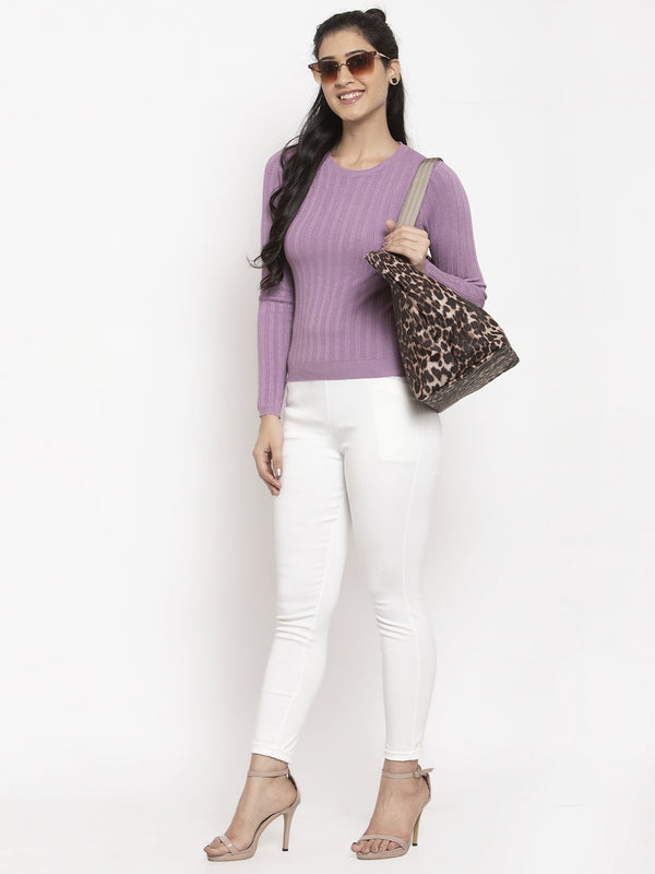 Women Purple Solid Pullover