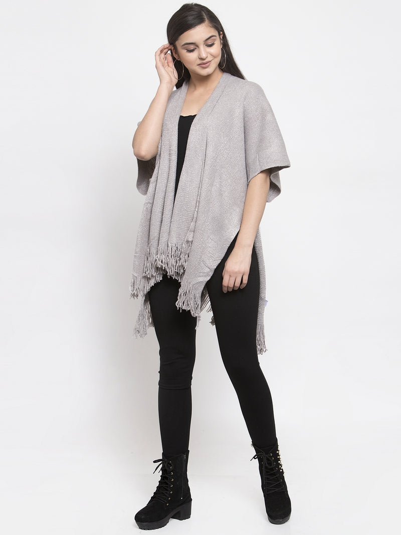 Women Grey Solid Shimmer Longline Open Front Shrug