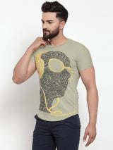 Mens Green Hosiery Printed T-Shirt