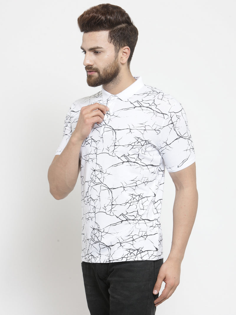 Men White Marble Printed Polo T-Shirt