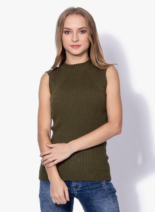 Women Olive Knitted Sleeveless Skeevi Pullover