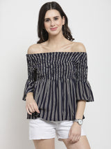 Women Striped Blue Smocked Top