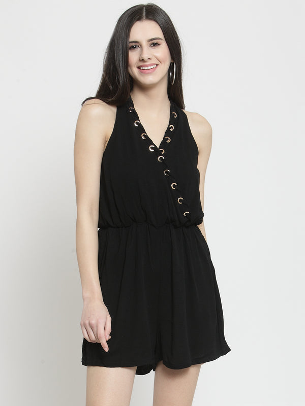 Women Soild Black Playsuit With Rivets