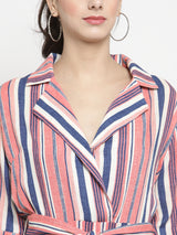 Women Peach Striped Playsuit With Lapel Collar