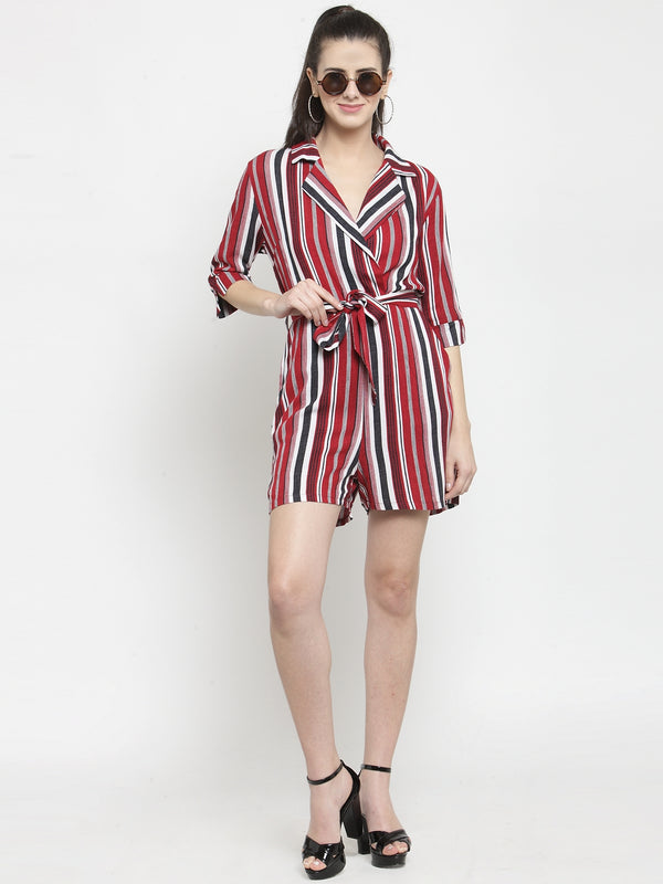 Women Red Striped Playsuit With Lapel Collar