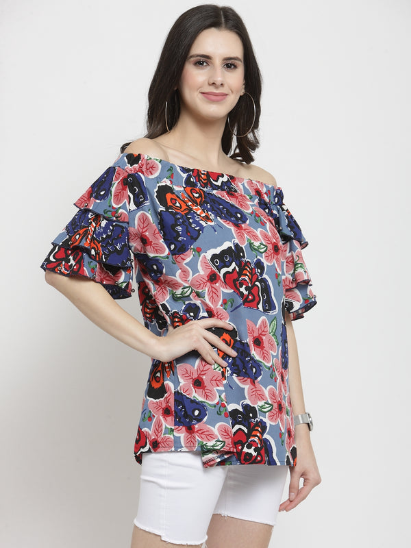 Women Blue Printed Off Shoulder Regular Fit Tops