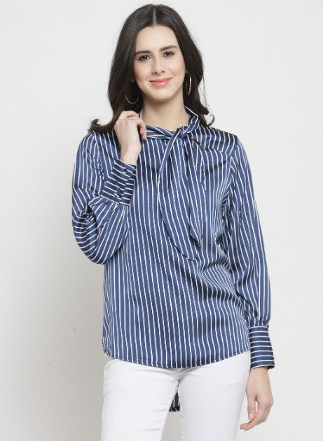 Women Navy Blue Striped Satin High-Low Top