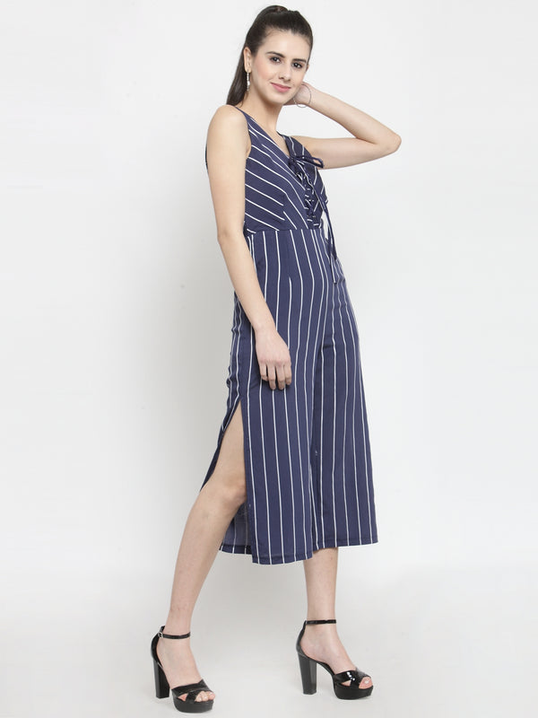 Women Striped Navy Blue Jumpsuit With V-Neck