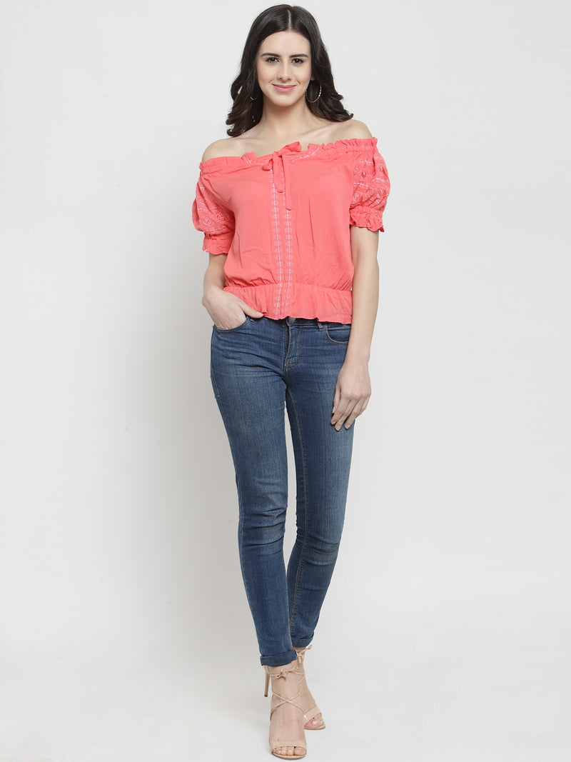 Women Peach Solid Off Shoulder Top With Drop-Waist