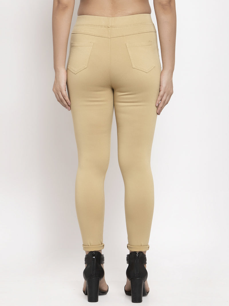 Women Gold Solid Jegging