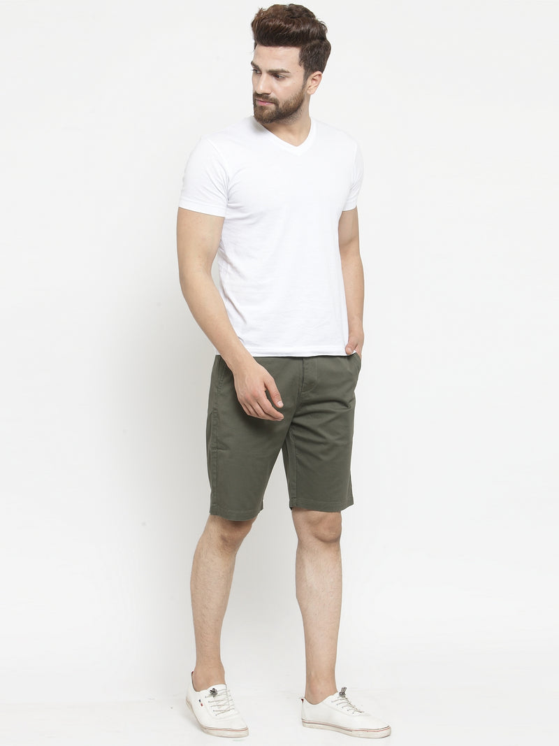 Men'S Solid Olive Green Shorts