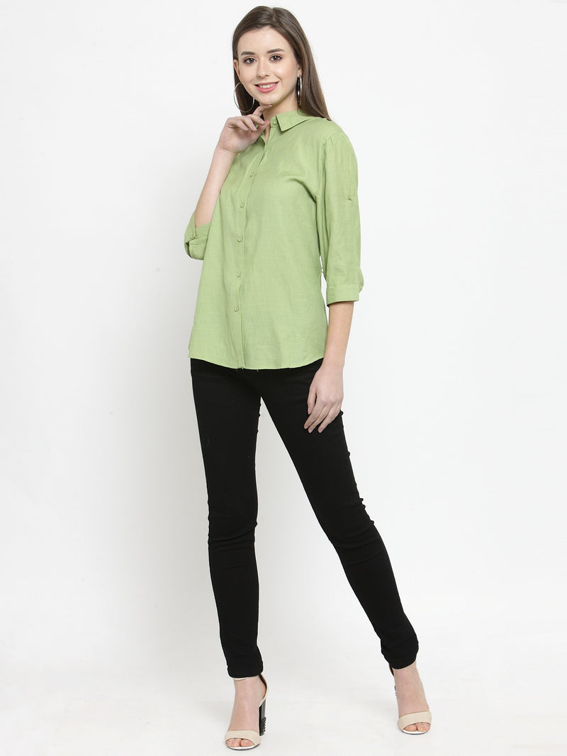 Women Plain Lime And White Combo Of 2 Collar Shirt