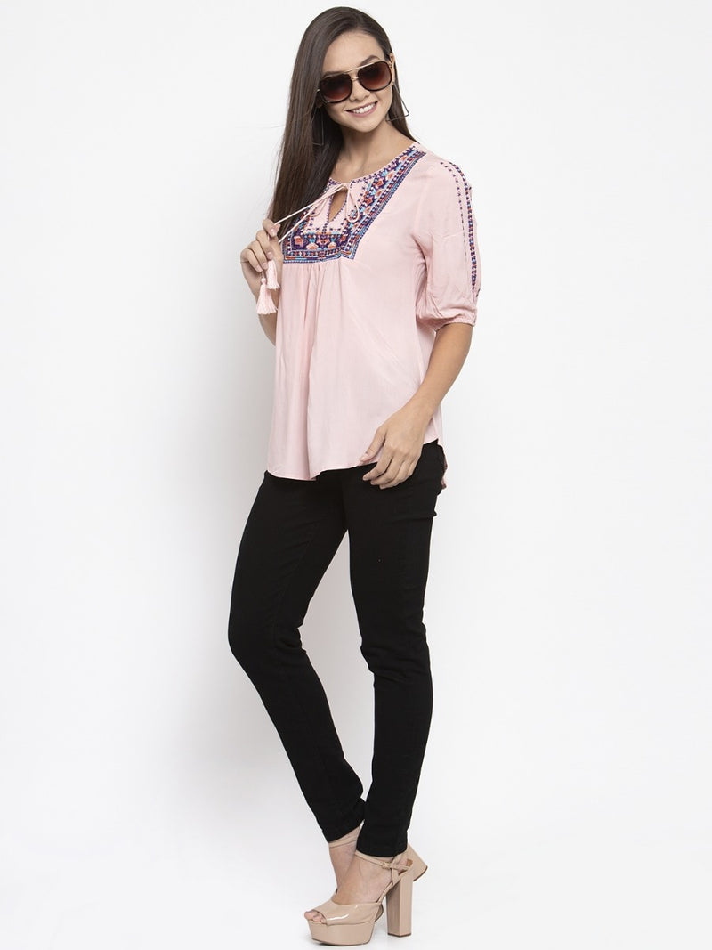 Women Embroidered Pink Tie-Up Neckline Top
