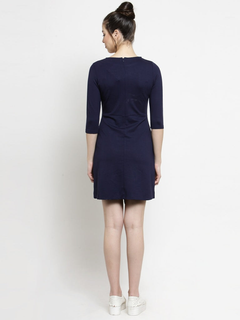 Women Solid Navy Blue Round Neck Dress