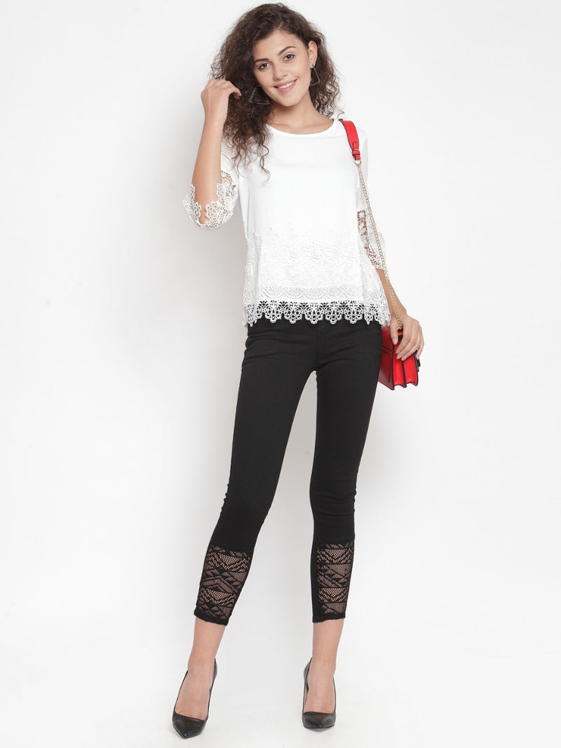 Women Solid Cream Top With Lace Detail