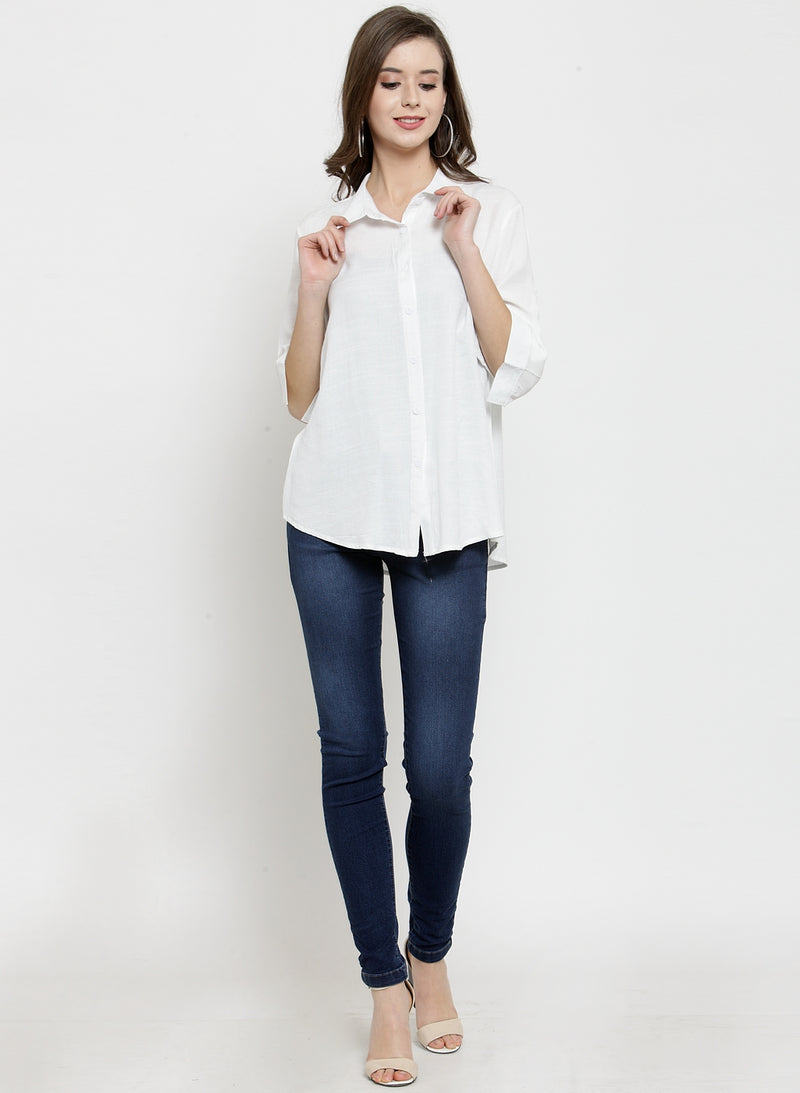 Women Plain Navy Blue And White Combo Of 2 Collar Shirt