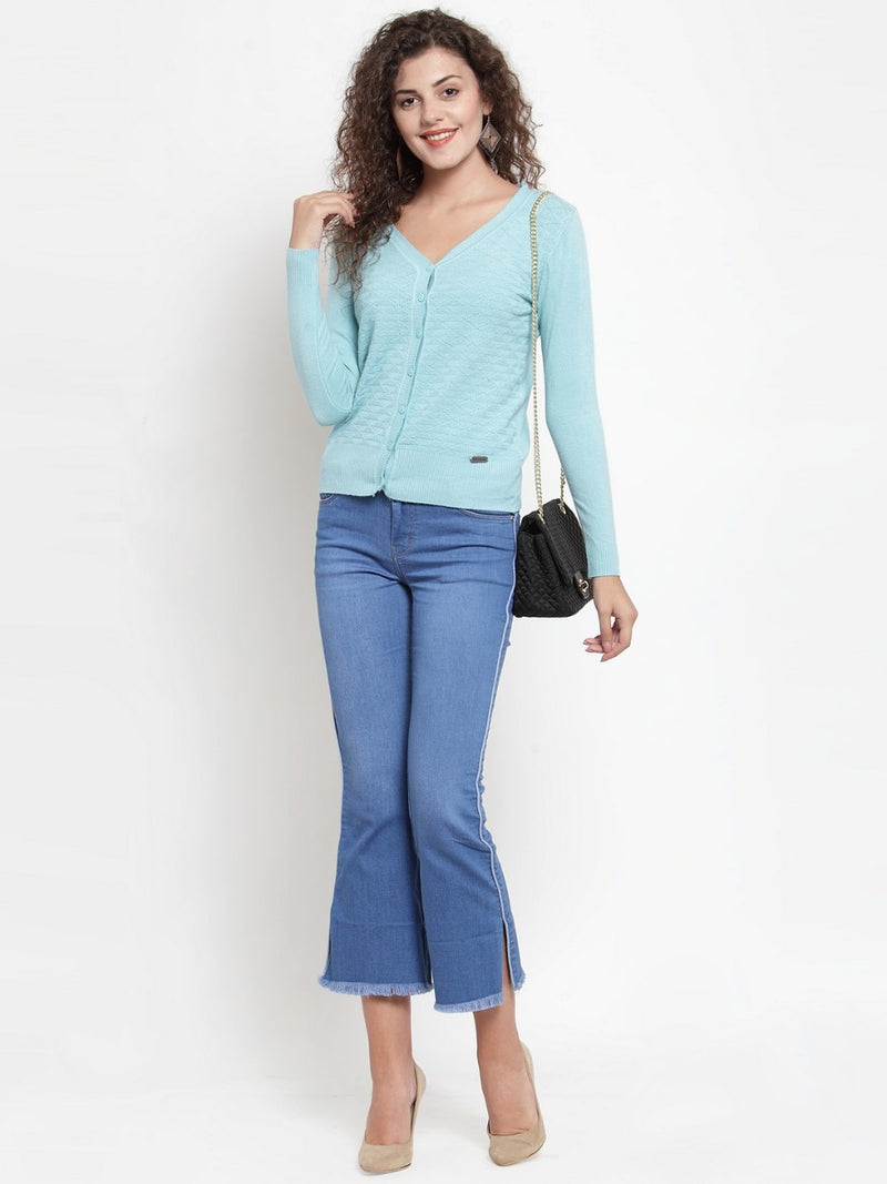 Women Solid Sky Blue Knitted  V-Neck Cardigan