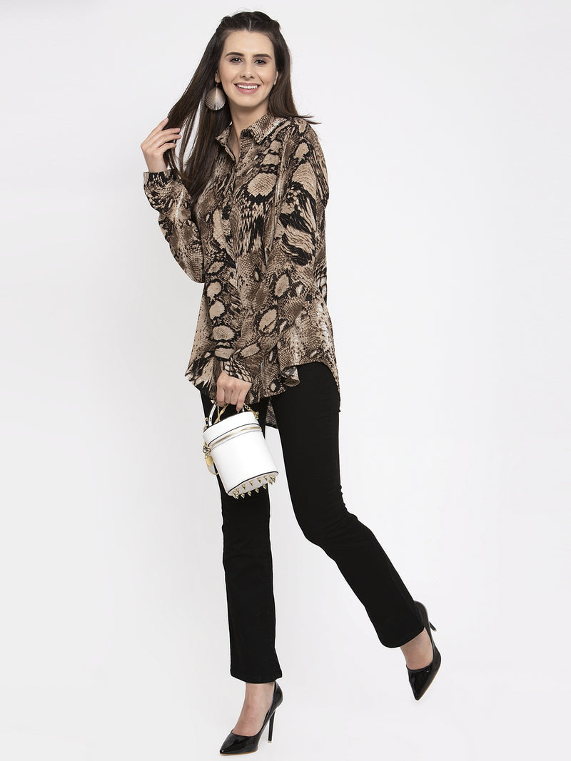 Women Brown Animal Printed Shirt