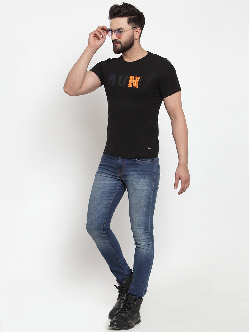 Men Run Printed Black Hosiery T-Shirt