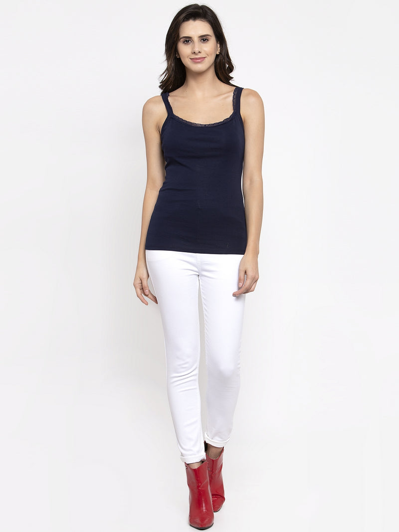 Women Solid Navy Blue Scoop Neck Vest