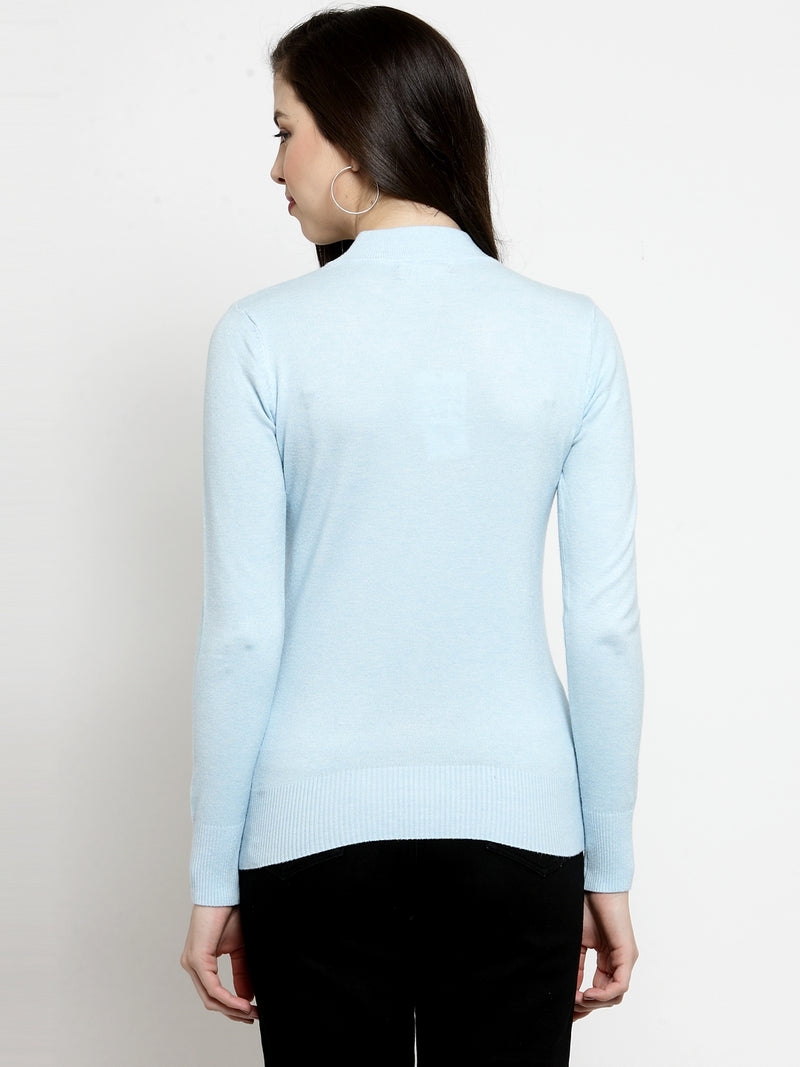 Women Sky Blue Turtle Neck Full Sleeve Skeevi Pullover
