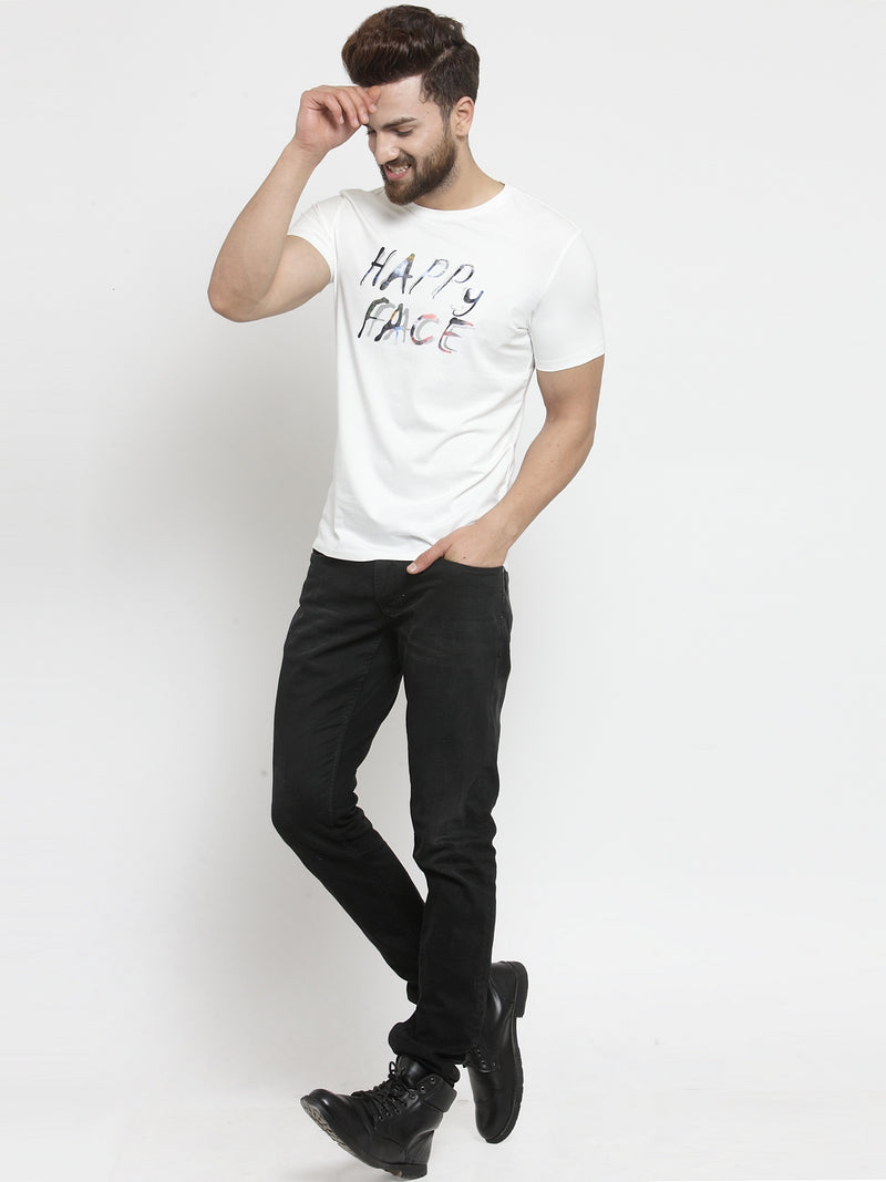 Men Happy Face Printed White Hosiery T-Shirt