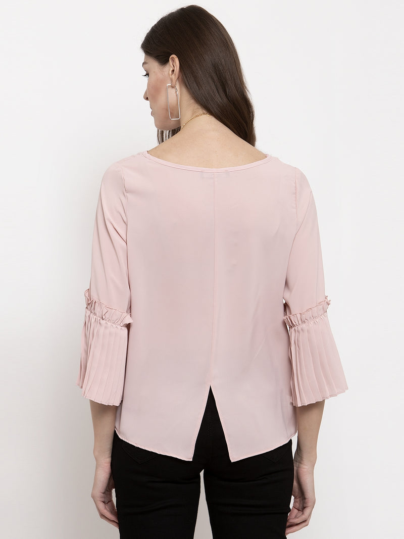 Ladies Pink Solid Round Neck Top