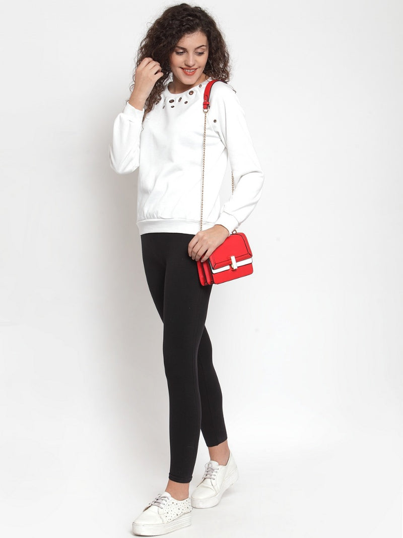 Women White Solid Pullover Sweatshirt