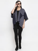 Women Charcoal Grey & Navy Blue Checked Open Front Shrug
