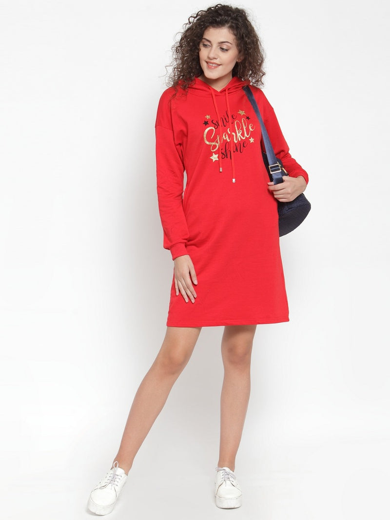 Women Solid Red Hood Tunic
