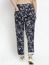 Women Blue & White Regular Fit Printed Peg Trousers