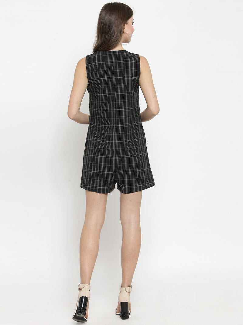 Women Black Checked V-Neck Playsuit