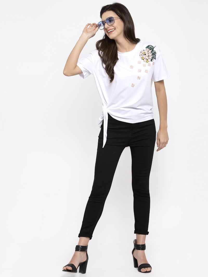 Women Printed White Knot Round Neck Top