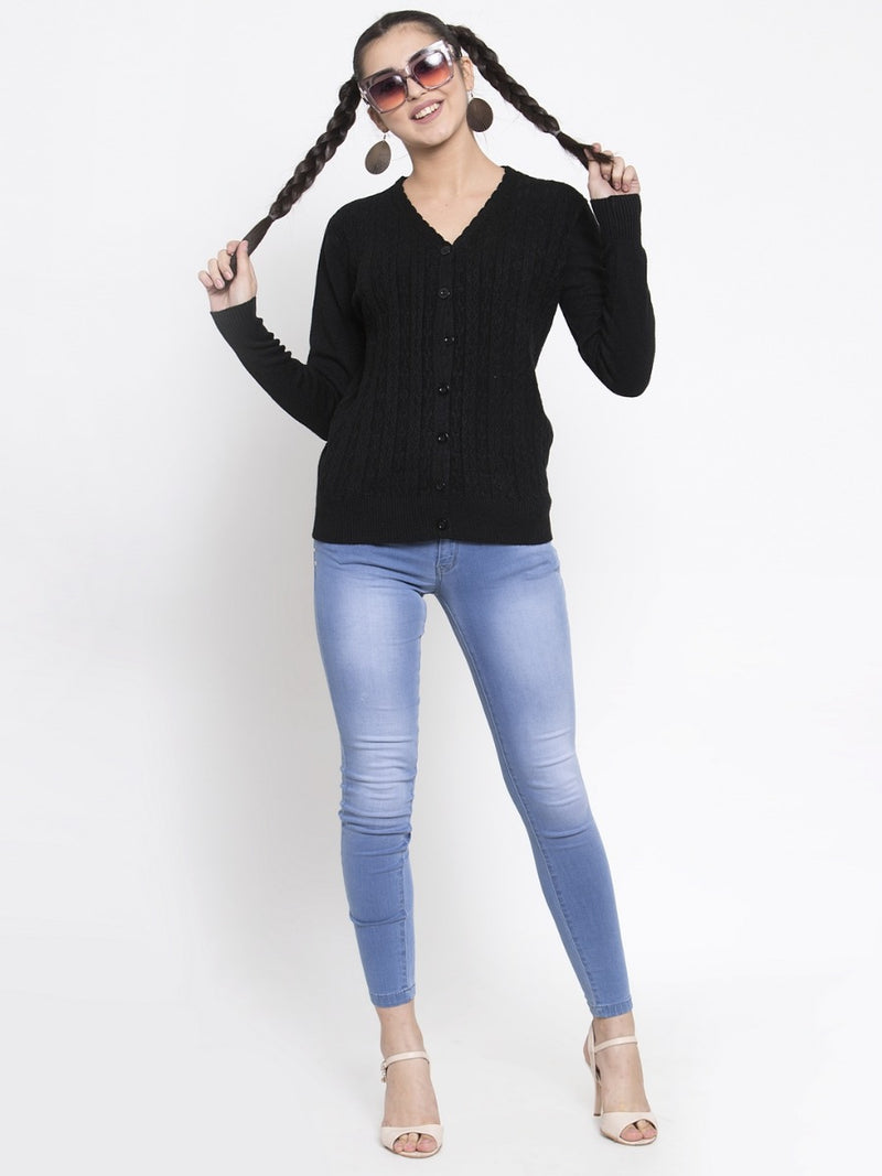 Women Solid Black Woolen  V-Neck Cardigan