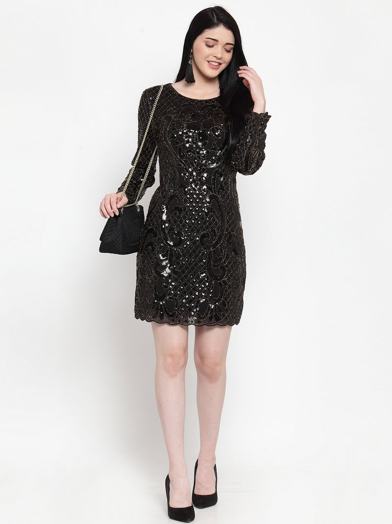 Women Black Sequined Mini Dress